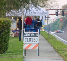 The sidewalk outside of the Southgate Publix was closed on both ends during the protest.